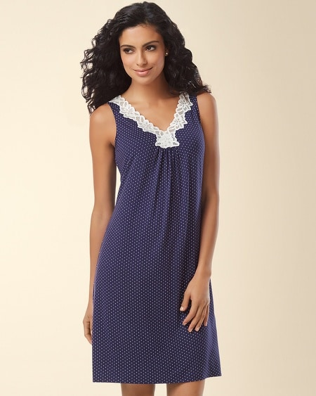 Sleeveless Lace Sleep Chemise Little Dot Navy