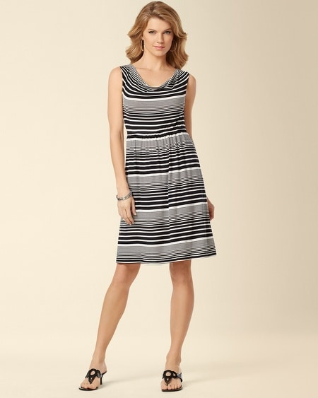 Cowl Neck Dress Gradient Stripe