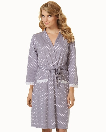 Belabumbum Cotton Nursing Short Robe Grey Dot