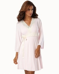 Belabumbum Nursing Robe With Contrast Lace Pink
