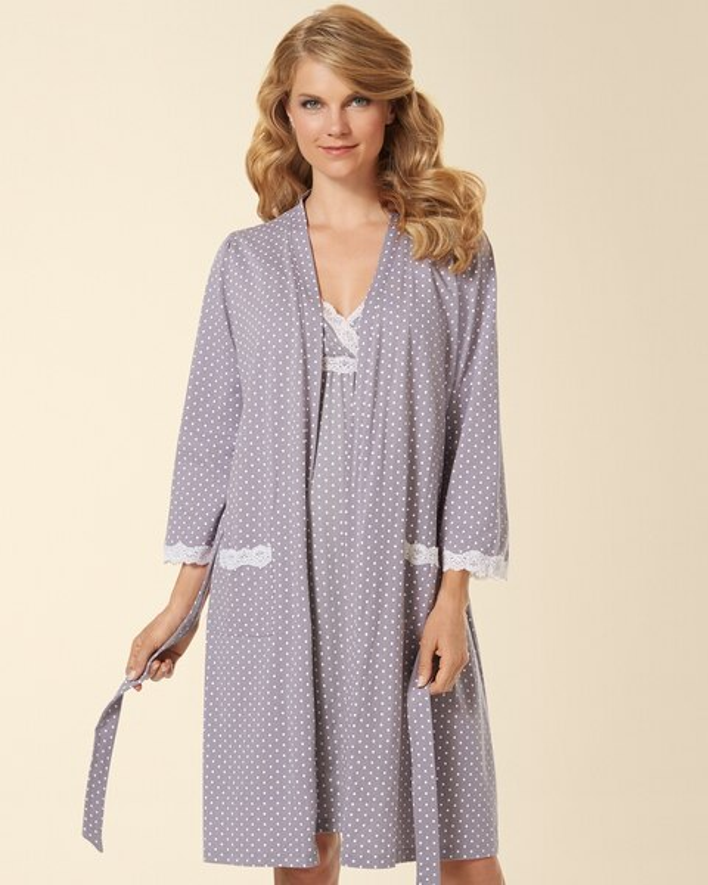 45746a028455d Return to thumbnail image selection Belabumbum Cotton Nursing Sleep Chemise Grey  Dot