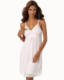 Belabumbum Nursing Sleep Chemise With Contrast Lace Pink