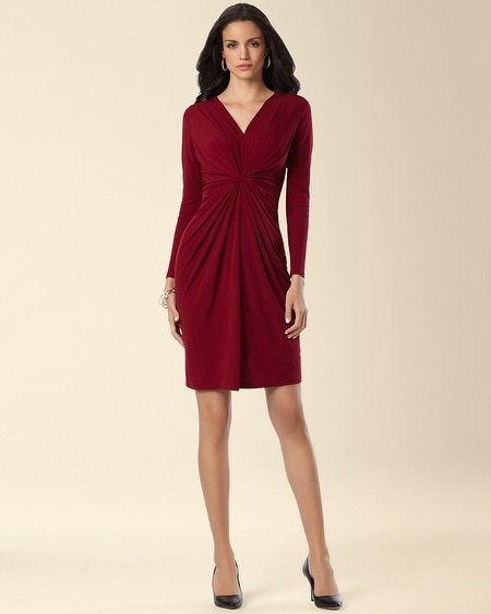 Leota Catherine Twist Front Long Sleeve Dress Garnet