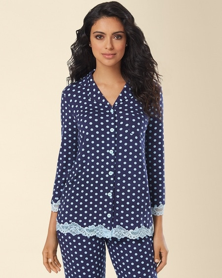 Notch Collar Lace Pajama Top Big Dot Navy