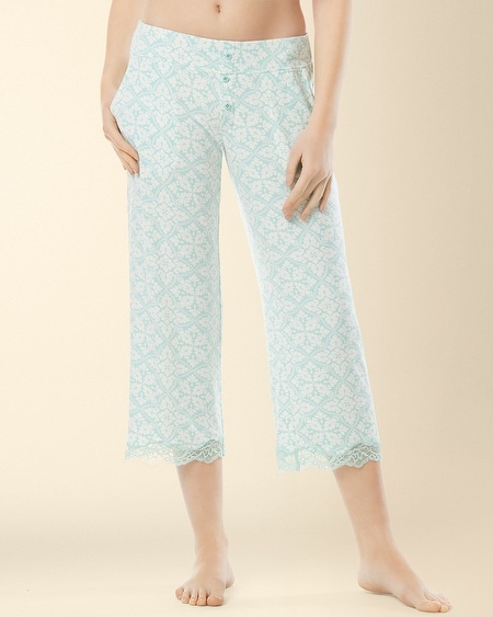 Crop Lace Pajama Pant Palace Tile Pale Jade