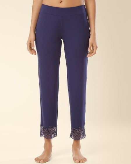 Lace Ankle Pajama Pant Navy
