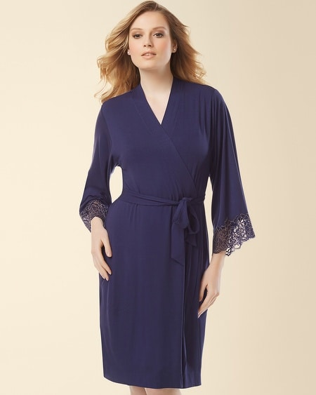 Lace Short Robe Navy