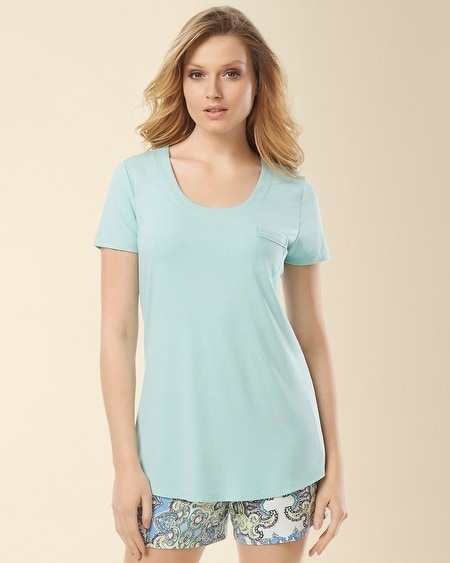 Short Sleeve Pajama Tee Pale Jade