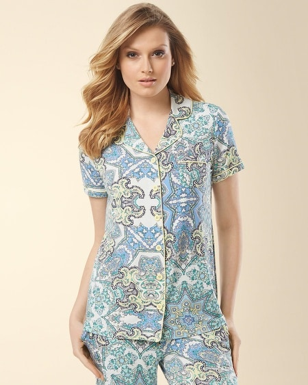 Notch Collar Short Sleeve Pajama Top Myriad Paisley