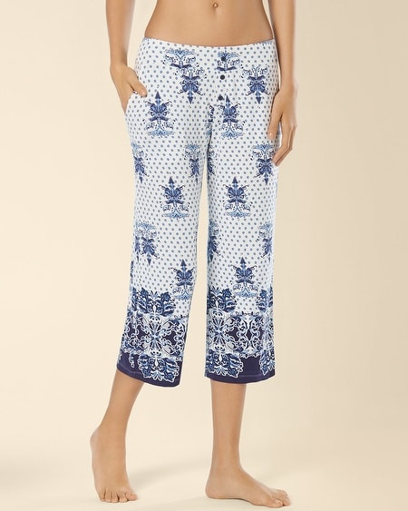 Crop Pajama Pant Marine Scroll Border