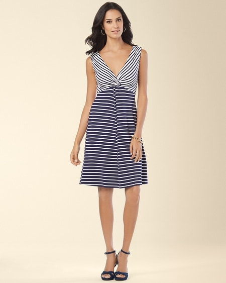 Sandra Dress Navy/Ivory Stripe