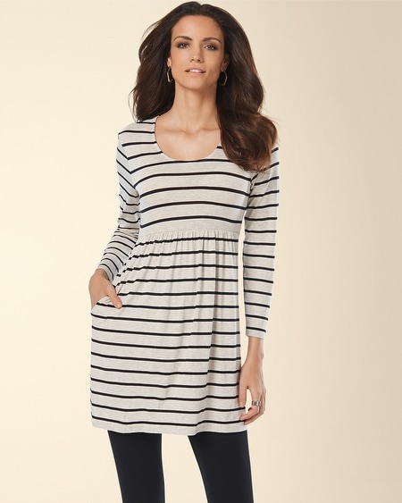 Long Sleeve Scoop Neck Tunic Heather Stripe