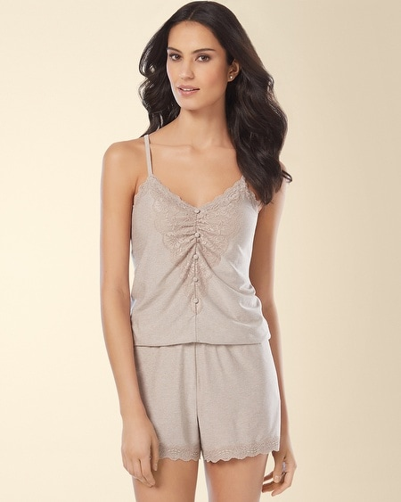 Scallop Lace Trim Sleep Romper Heathered Bliss/Ivory