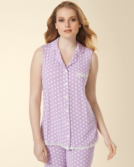 Sleeveless Lace Notch Collar Pajama Top Big Dot Faded Orchid