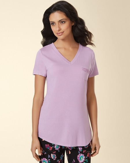 Short Sleeve V-Neck Pajama Tee Faded Orchid