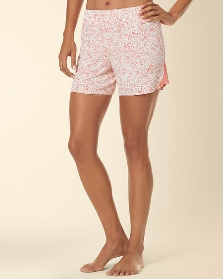 Ornamental Scroll Lace Sleep Short Inked Floral Coral Hype