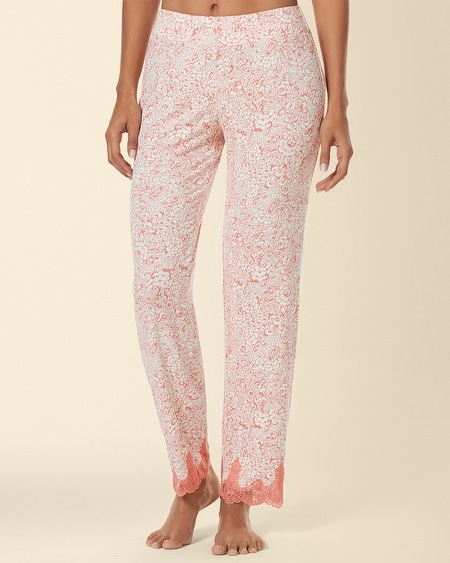 Ornamnetal Scroll Lace Ankle Pajama Pant Inked Floral Coral Hype