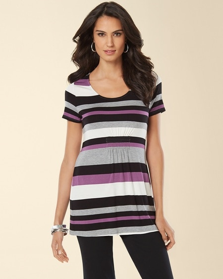 Empire Waist Tee Aubergine Stripe