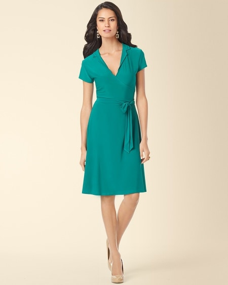 Leota Collar Wrap Dress Emerald