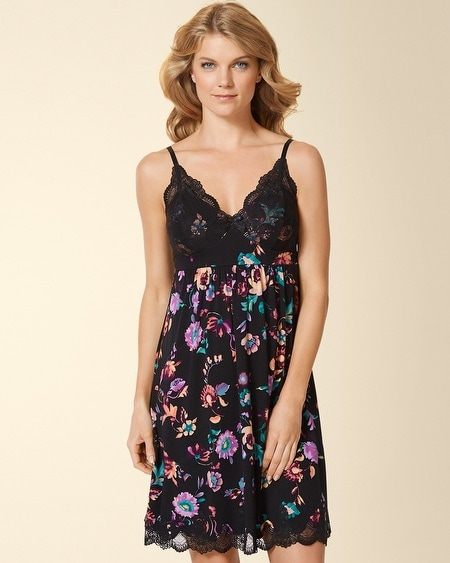 Ornamental Scroll Lace Sleep Chemise Oracle Floral Black