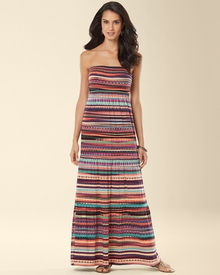 Tiered Bandeau Maxi Dress Fiesta Stripe Multi