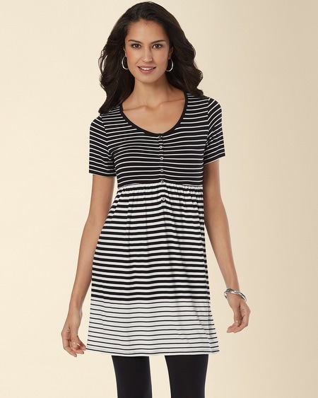 Henley Empire Tunic Top Mixed Stripe Black/Ivory