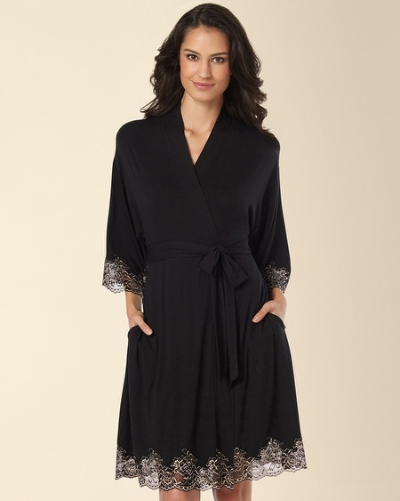 Festive Floral Lace Short Robe Black