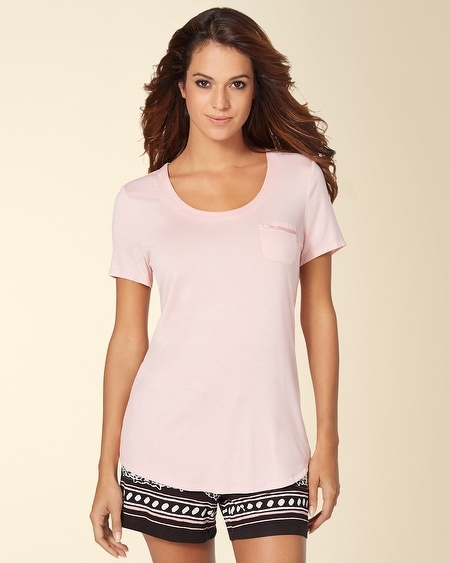 Short Sleeve Pajama Tee with Pocket Boudoir Pink