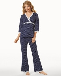 Belabumbum Nursing Pajama Set Navy Dot