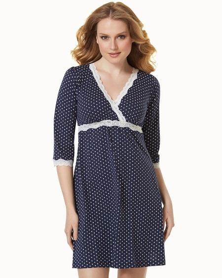 Cotton Nursing Sleepshirt Navy Dot