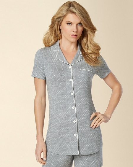 Short Sleeve Notch Collar Piped Pajama Top Little Dot Heather Silver