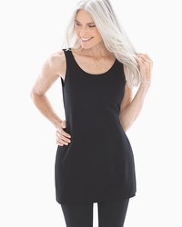 Pima Cotton Tunic Layering Tank Black