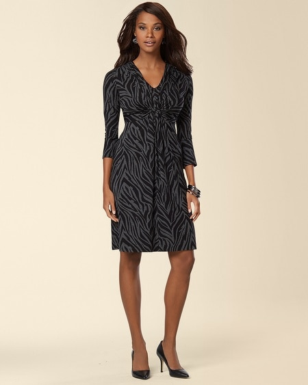 V-Neck Twist Front Dress Abstract Zebra