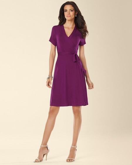 Cap Sleeve Wrapped Dress Warm Plum