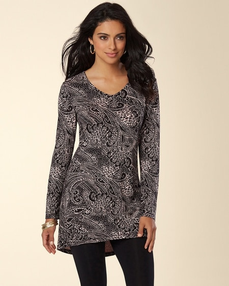 Divine Terry Long Sleeve V-Neck Tunic Transcend Paisley