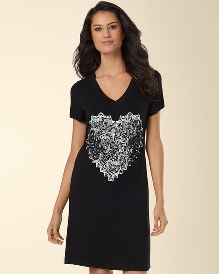 Embroidered Sleepshirt Lace Heart Black