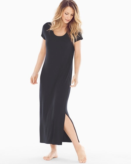 Short Sleeve Long Sleepshirt Black