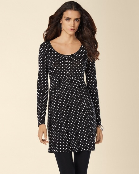 Long Sleeve Henley Tunic Playful Dot