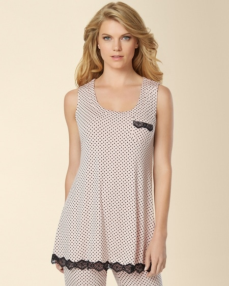 Fit and Flare Sleep Tank Mod Dot Boudoir Pink