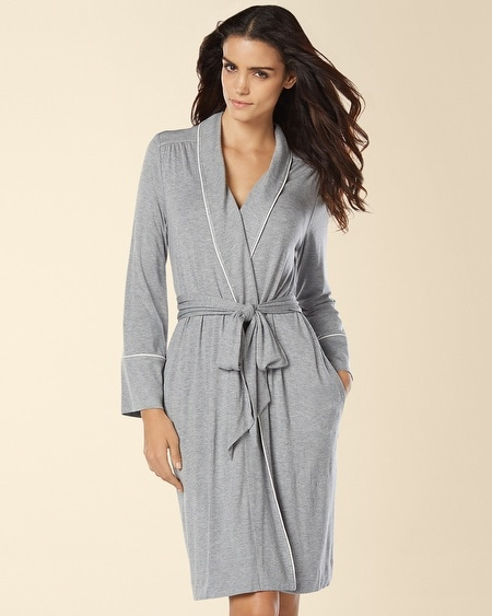 Cool Nights Piped Short Robe Heather Silver