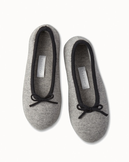 Drawcord Cashmere Slippers Heather Grey/Black