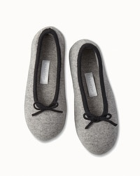 Arlotta Drawcord Cashmere Slippers Heather Grey/Black