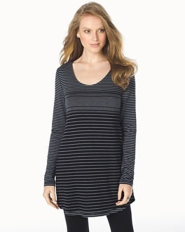 Live.Lounge.Wear. Divine Terry Long Sleeve Shirttail Hem Tunic Fair Stripe Quartz