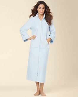 Embraceable Long Zip Robe Light Blue