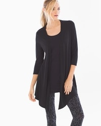 Soft Jersey 3/4 Sleeve Angled Hem Wrap Black