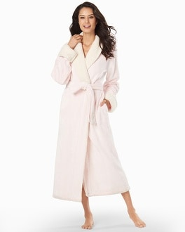 Natori Sherpa Plush Long Robe Blush Pink