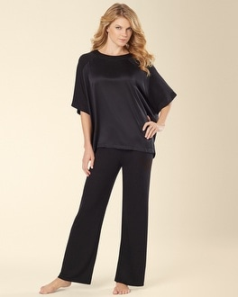 Natori Short Sleeve Charmeuse Pajama Set Black
