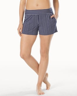 Embraceable Cool Nights Sleep Shorts Regency Stripe Navy