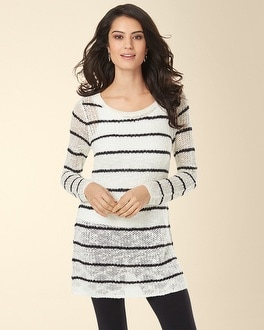 Long Sleeve Open Work Sweater Tunic White with Black Stripe