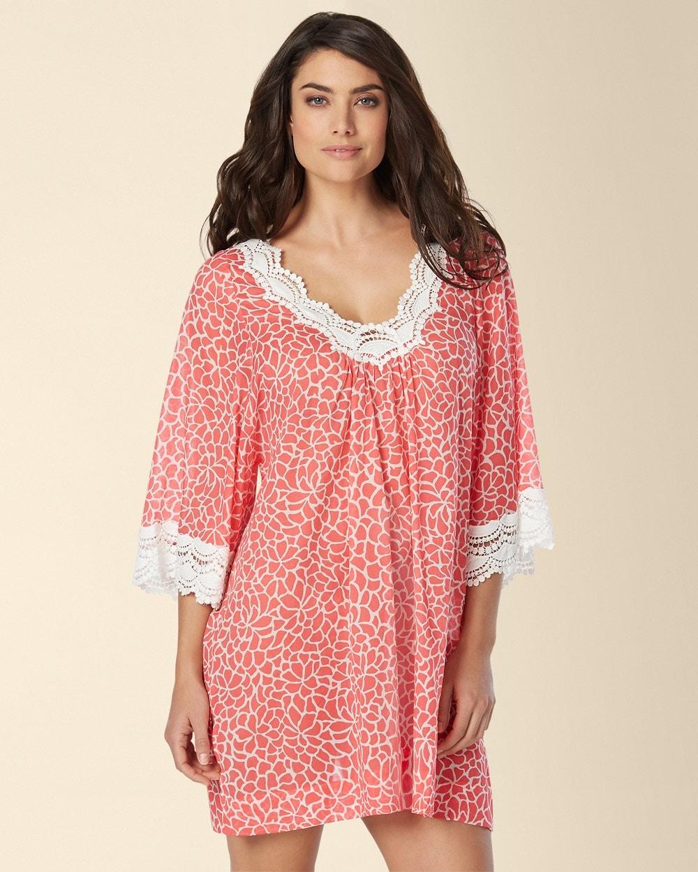 Mosaic Petals Short Cotton Nightgown Apricot Print - Soma